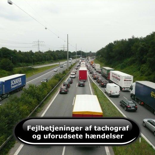Fejlbetjening af tachografen og uforudsete hændelser